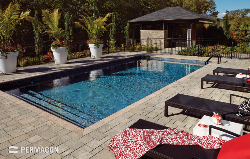 Poolside made of slate-textured pavers