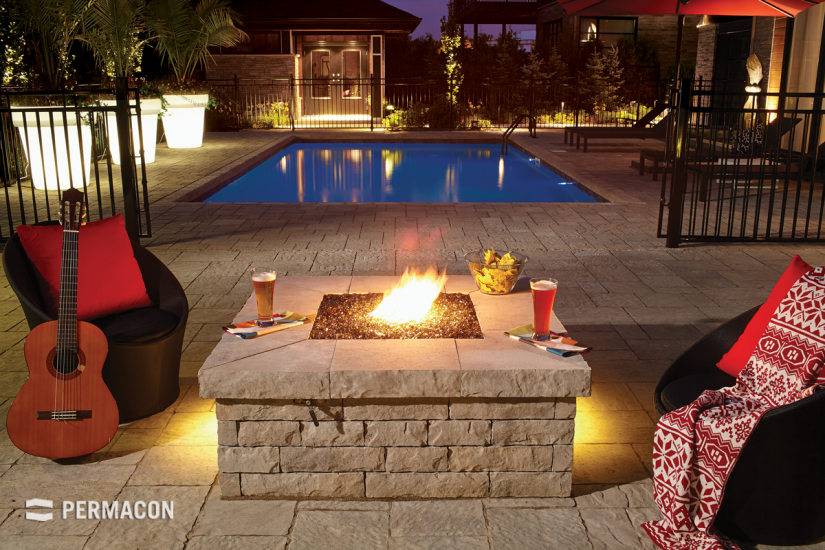 Poolside outdoor fireplace