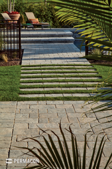 Pathway made of slabs with grass insertions