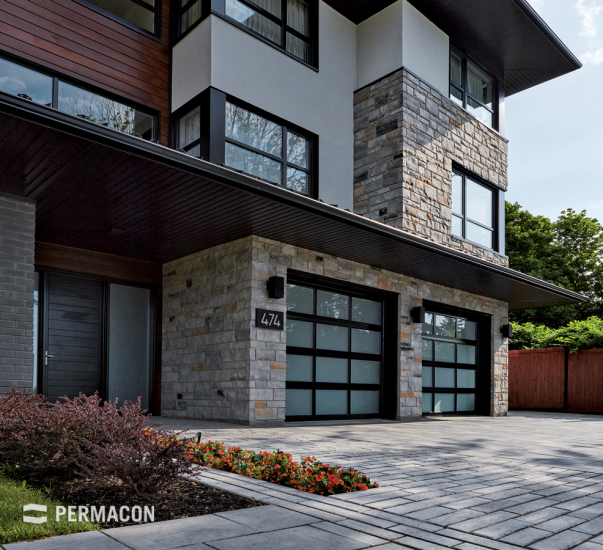Contemporary home enhanced with stone