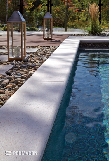 Poolside coping adds the finishing touch to your contemporary backyard