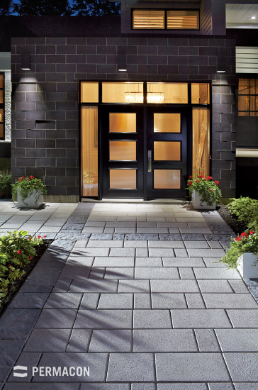 A modern and sleek paved driveway