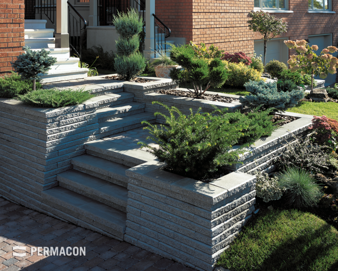 Enhance your outdoor steps with flowerbeds adorned with vegetation