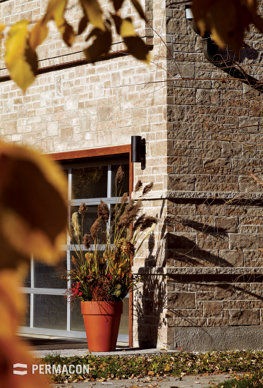 Exterior cladding with a combined brick and stone look