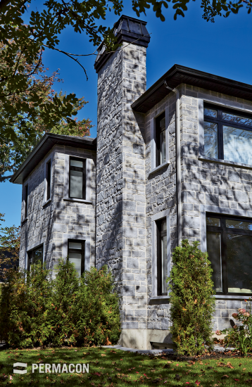 Exterior stone cladding with chiselled texture