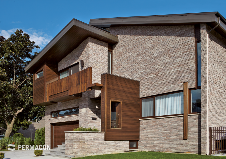 Exterior stone cladding with innovative texture