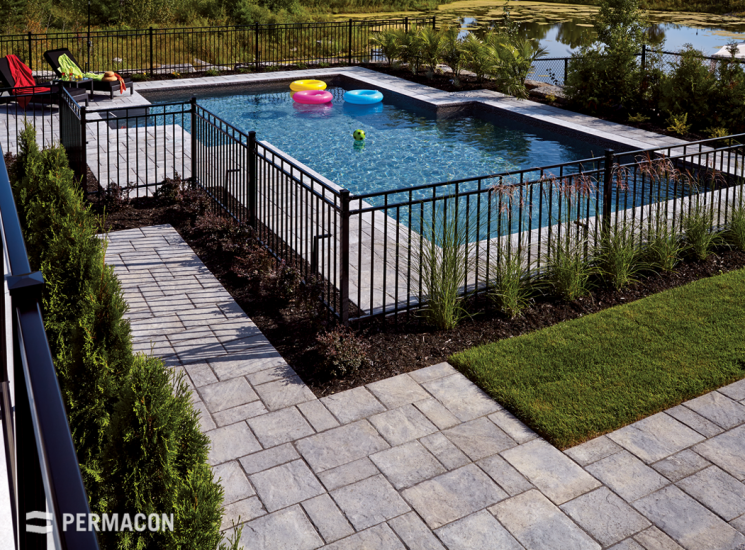 Function meets beauty with this paver's natural, chiseled stone texture