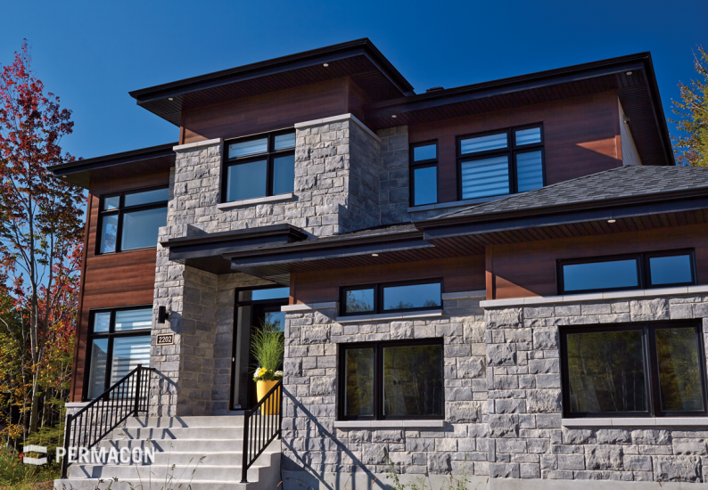 Home exterior cladding that integrates stone and wood