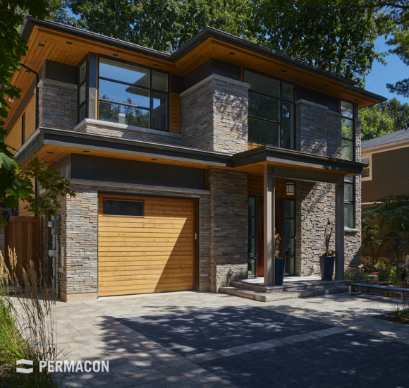 Home facade and driveway with a distinctive look