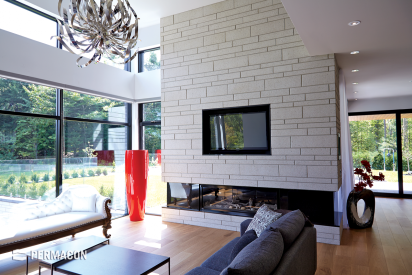 Integrate a cozy indoor stone fireplace to unwind at the end of the day