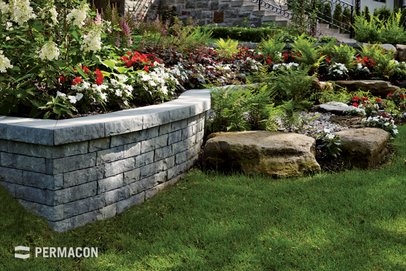 Lovely rock garden with trendy stone wall
