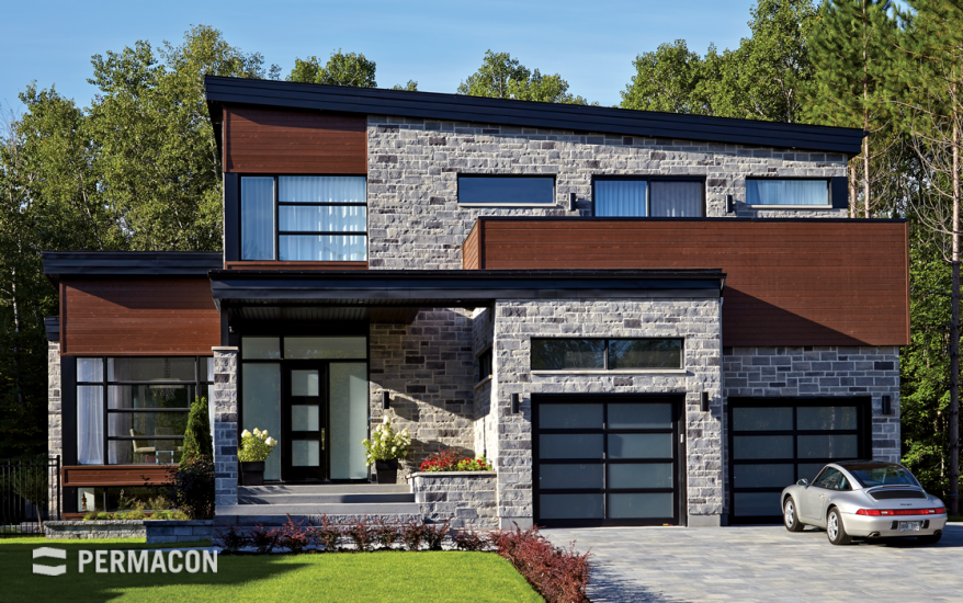 Modern home clad in natural-looking stone