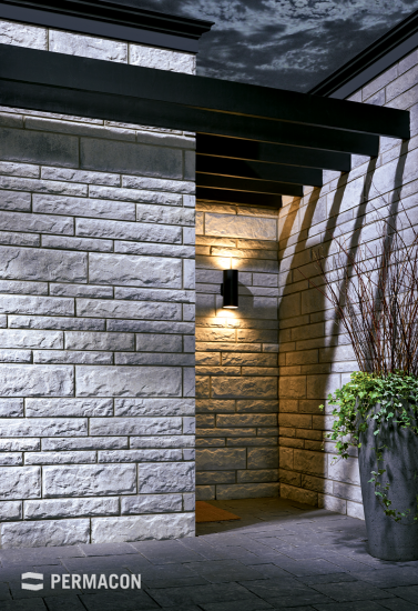 Modernized entrance made of stone with defined edges