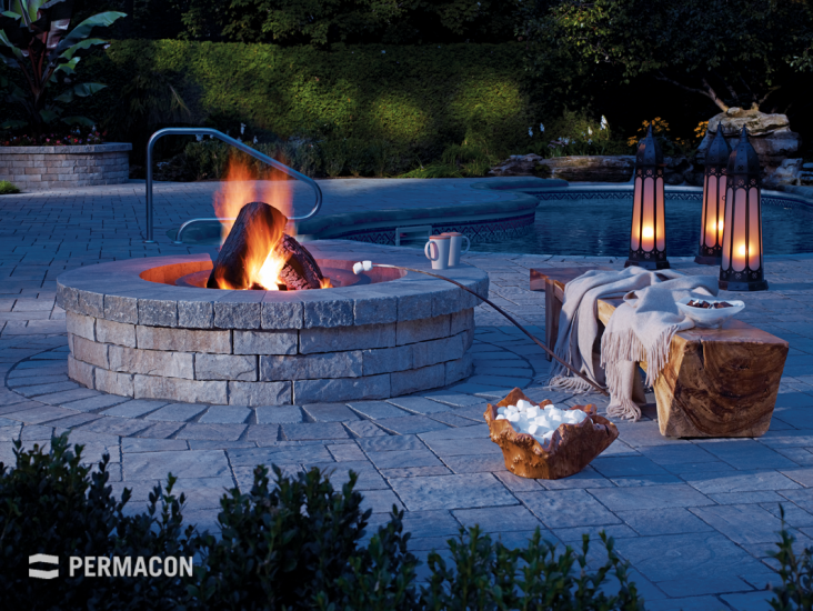 Outdoor fireplace for beautiful summer evenings