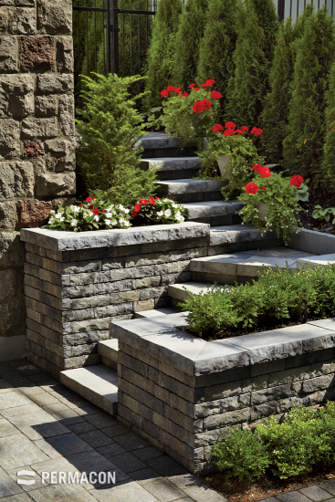 Stairway designed with a stone wall