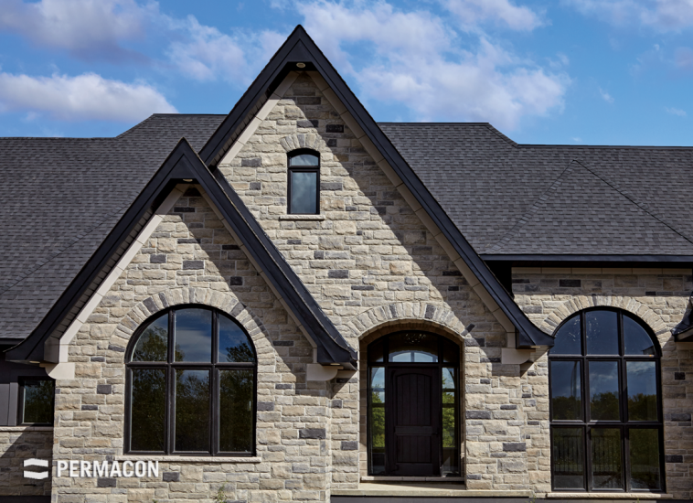 Stone residence with black accents
