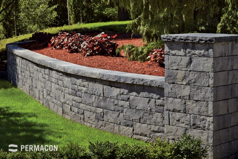 Stone retaining wall for a trendy garden