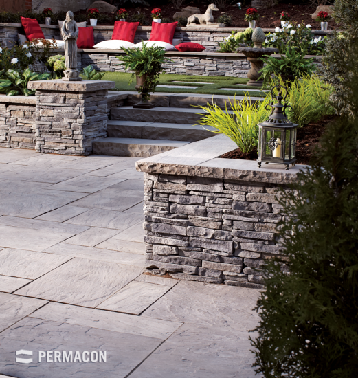 Stone wall laid out as a relaxation area