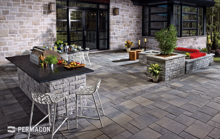 Stone wall laid out as an outdoor kitchen
