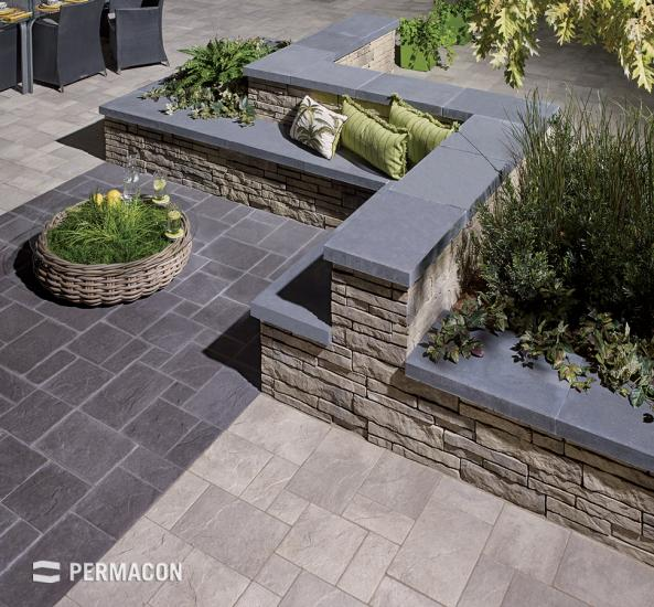 A well design patio with a bench and relaxing zone