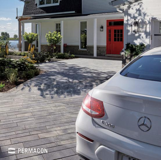 Driveway made of Permacon pavers.