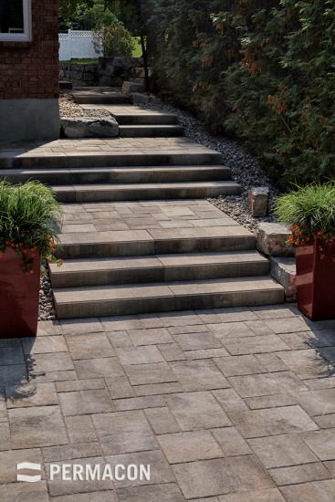 Mega step and stair landing in concrete pavers