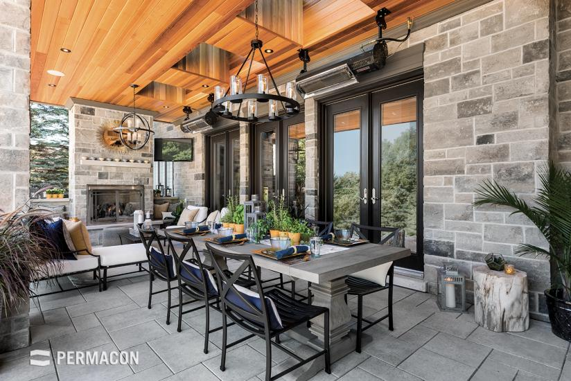 An exterior fire place  enhancing the dinning room