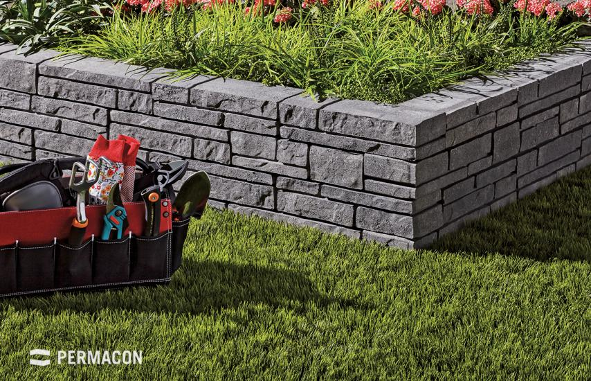 Garden wall creating the look of stacked-stone